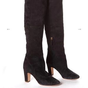 Chanel Suede over the knee boots